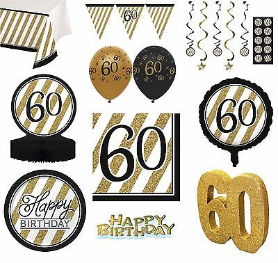 BLACK & GOLD Age 60 - Happy 60th Birthday Bday PARTY ITEMS Decorations Tableware](60th Bday Decorations)