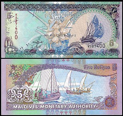 Maldives P 18 5 Rufiyaa Year 2011 Uncirculated Banknote