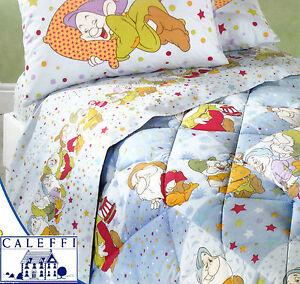 Completo letto lenzuola in flanella singolo disney caleffi sette nani - Completo lenzuola letto singolo ...