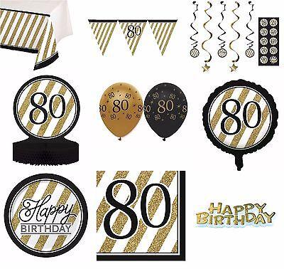 Schwarz & Gold Alter 80 - Froh 80. Geburtstag Bday Party Artikel