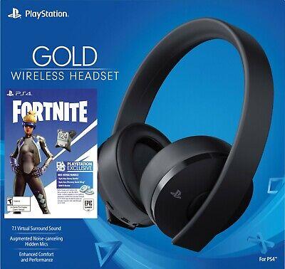 Sony PlayStation PS4 Gold Wireless Headset Black 7.1 + Fortnite Neo 500V Bucks