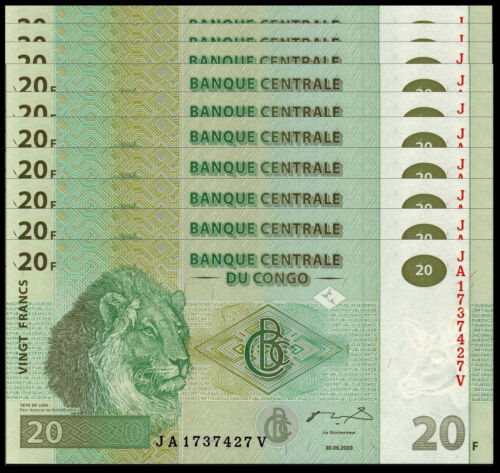 CONGO 20 FRANC 2003 P 94 UNC LIONS (10 PCS)