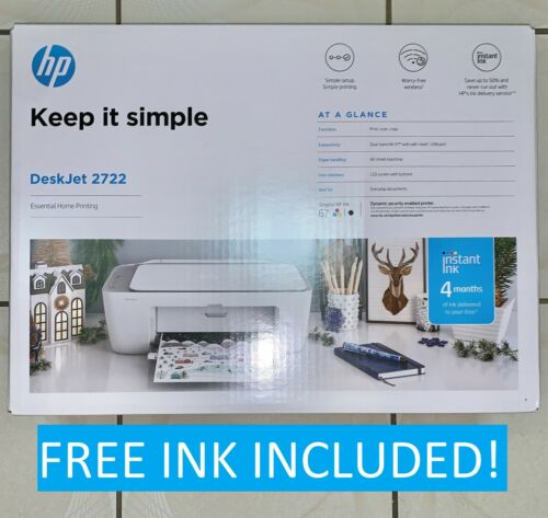 NEW HP DeskJet 2722 All-in-One Wireless Color Printer  + Ink – FAST FREE SHIP!