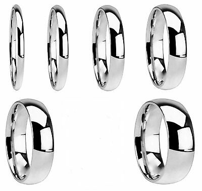 Men Women Plain Wedding Band Ring  316L Stainless Steel