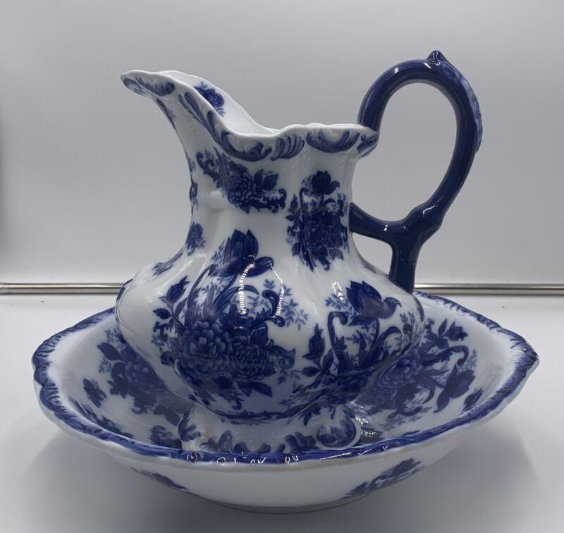 Vintage Cracker Barrel Blue And White Porcelain Pitcher And Basin