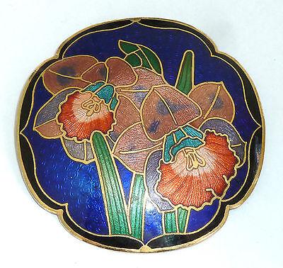 A VINTAGE 1980s GOLD TONE CLOISONNE ENAMEL FLOWER BROOCH