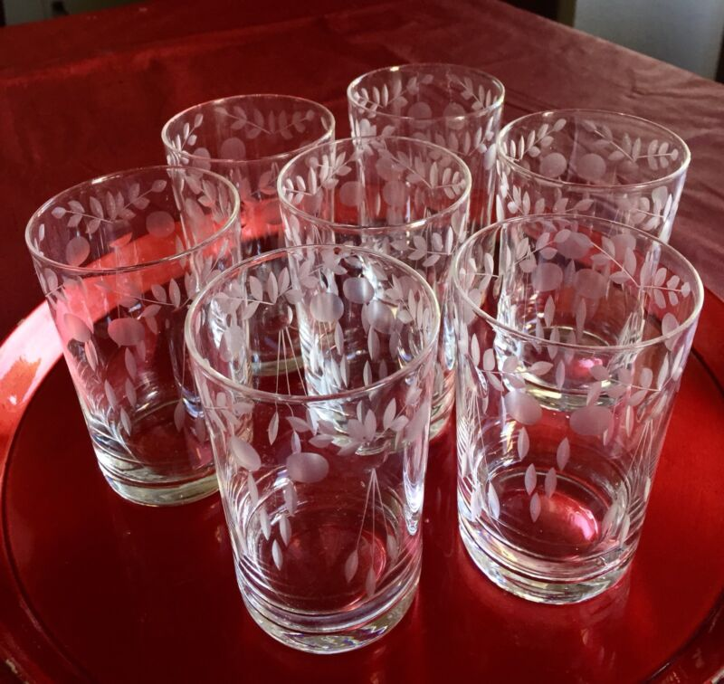 Set of 7 Antique Etched Victorian Style Hand Cut Crystal Glasses