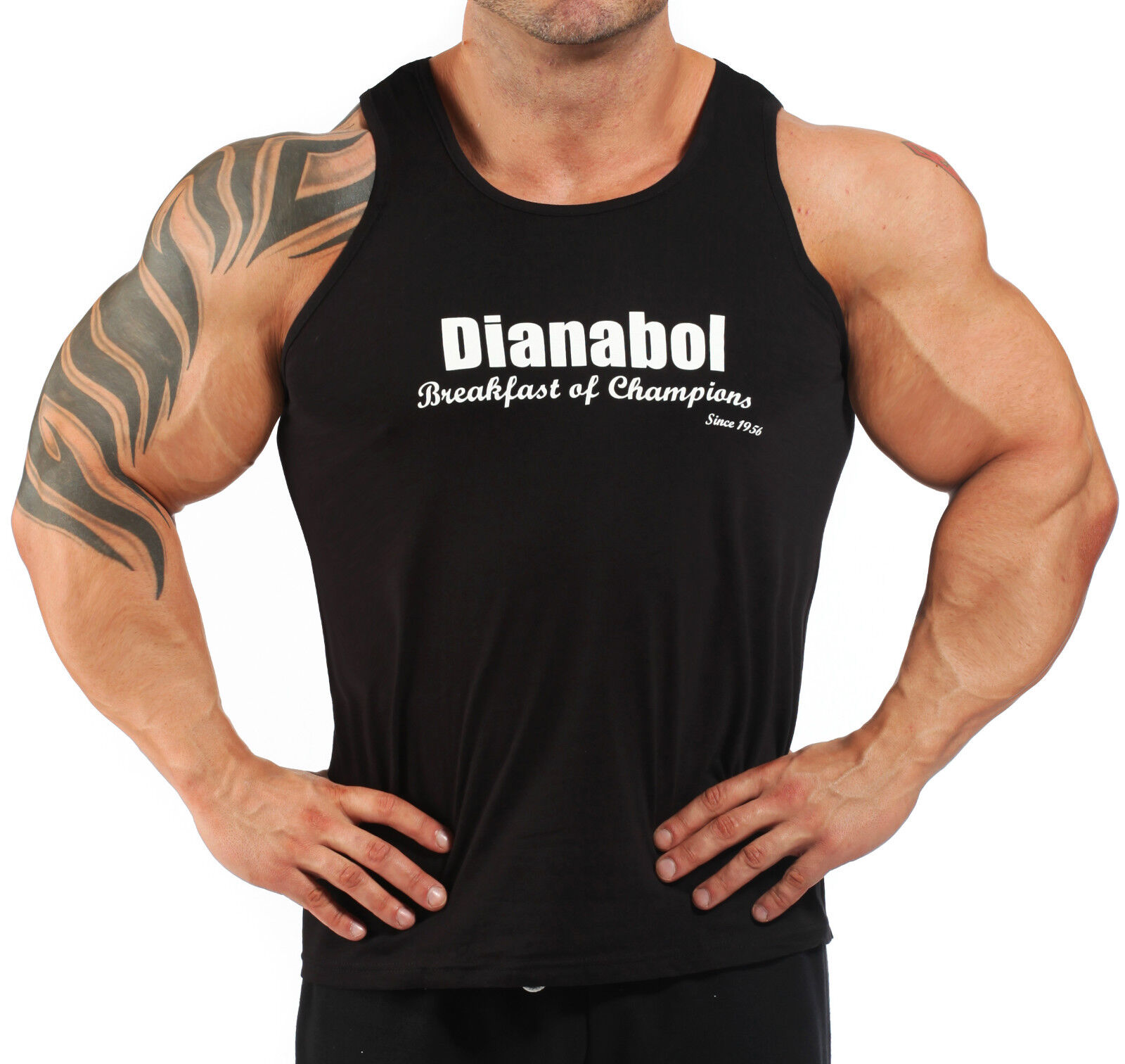Mens cotton grey steriod dianabol bodybuilding vest for Dress shirts for bodybuilders