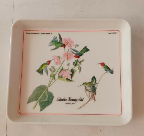 John James Audobon Bird Plate Columbian Humming Bird.  Plastic, made in Italy