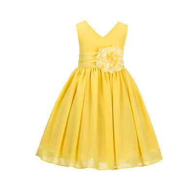 Elegant Yoryu Chiffon V-neck Bodice Flower Girl Dress Wedding Toddler Kids S1503](Elegant Flower Girl Dress)