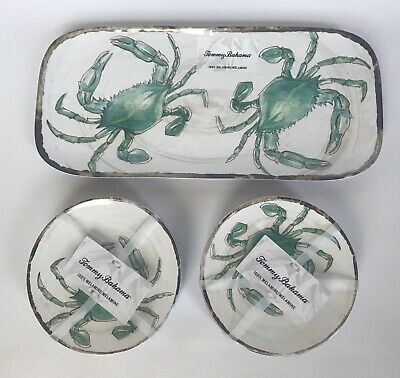 New Tommy Bahama Melamine Small Serving Tray Appetizer Plates Green Crab Coastal (Small Serving Tray)