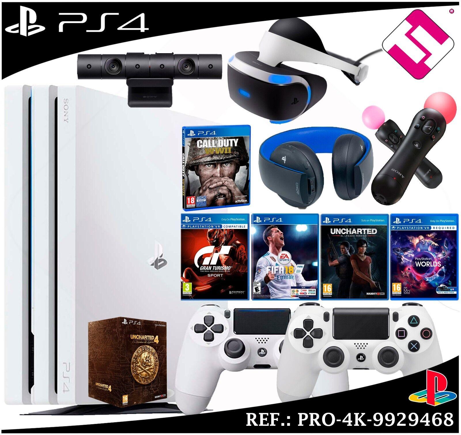 Mega Pack PS4 pro 4K 1TB Weiß Kamera Brille VR Micros 2 Controller Headset