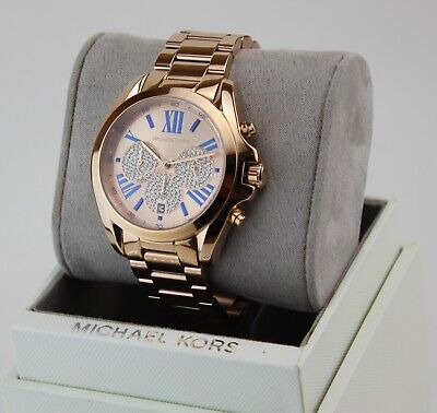 NEW AUTHENTIC MICHAEL KORS BRADSHAW CRYSTALS ROSE GOLD WOMEN'S MK6321 WATCH