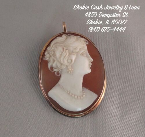 LOVELY Vintage 18kt SOLID GOLD CARVED SHELL CAMEO PENDANT/BROOCH