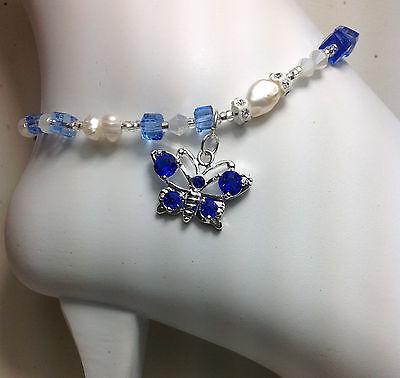 Healing Blue Pearl Butterfly Ankle Bracelet/Anklet W/Swarovski Elements USA
