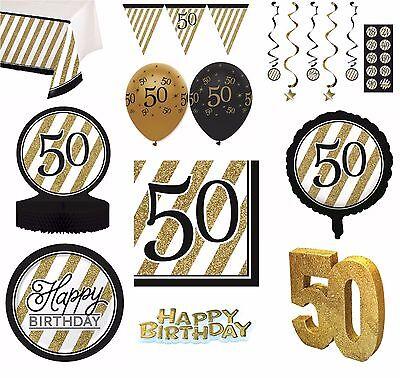 Schwarz Gold Alter 50 - Froh 50th Birthday Bday Party Artikel Dekoration ()