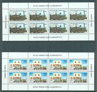 Thematics, trains Cyprus Turkish  1986 2 sheets of 8 sg.202-3 MNH