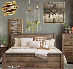 Oversized Wall Clock Large Décor Iron Vintage Modern Wood Farmhouse Rustic