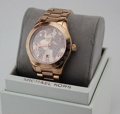 NEW AUTHENTIC MICHAEL KORS LAYTON ROSE GOLD CRYSTALS WOMEN'S MK6376 WATCH