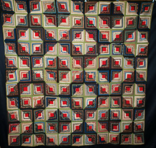 Antique Quilt Log Cabin,1860