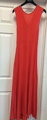 Kenneth Cole Solid Orange Full-length Open X Back Maxi Sleeveless  Dress Sz S ()