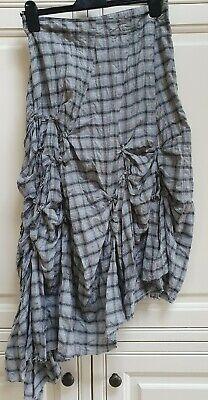 IVAN GRUNDAHL Asymmetric Check Gathered Skirt Casual Quirky Size 14