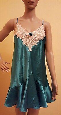 Vintage Victoria's Secret Teal Green Sateen Lace Nightie Medium Lingerie