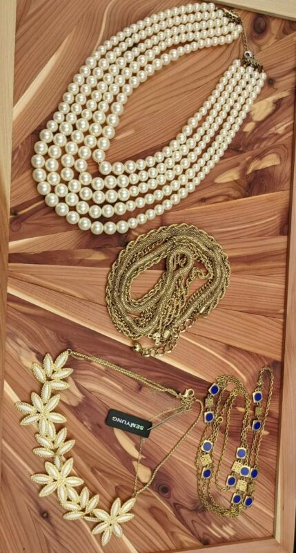FASHION NECKLACE Lot Wear Resell Repurpose Gold Tone Faux Pearl Beads