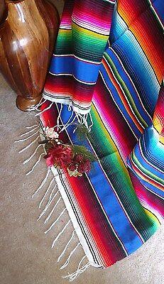 Serape Blue multicolored Mexican Blanket white fringe southwest Aztec X-LARGE
