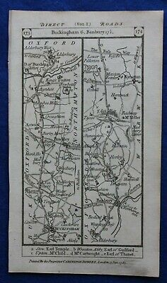 Original antique road map BUCKINGHAMSHIRE, WARWICKSHIRE, BANBURY, Paterson 1785