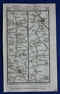 Original antique road map YORKSHIRE, SCARBOROUGH, MIDDLESEX, Paterson, 1785