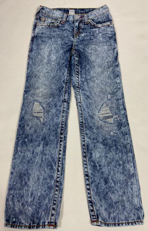 True Religion Jeans 10 Acid Wash Blue Flap Pocket Straight Leg Unisex