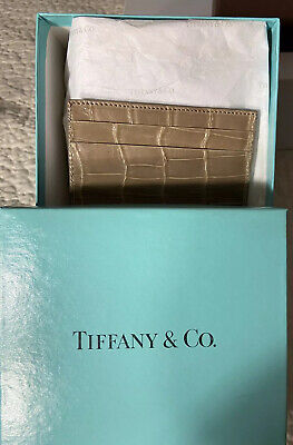 Tiffany & Co. RARE Find; Tan Crocodile Card Case With Box & Logo Tissue 4 X 2.75