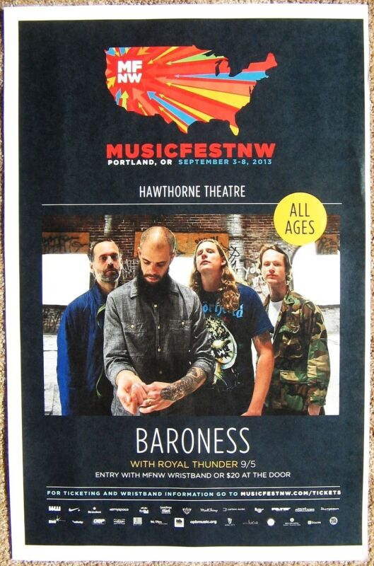 BARONESS 2013 Gig POSTER MFNW Portland Oregon Musicfest NW Concert