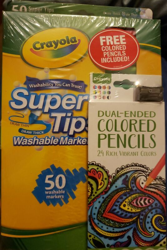 Crayola Washable Super Tips Markers 50 Count With Bonus Colored Pencils