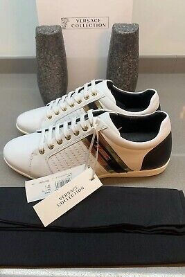 Versace Bond Sneakers White Leather Size 7 UK 41 EU Brand New Boxed