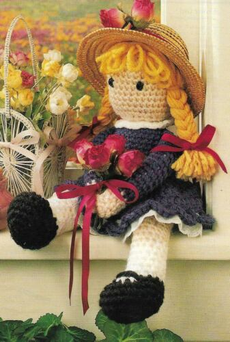 FLOWER GIRL DOLL TOY DIGEST SIZE CROCHET PATTERN INSTRUCTIONS