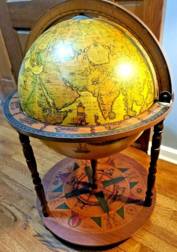 Vintage Italian Zodiac Globe Bar Floor Style Handcrafted Art Deco Mad Men 1950s