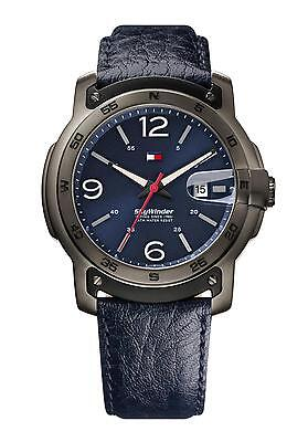Tommy Hilfiger SkyWinder Leather Navy Blue Dial Date Men Watch 50mm 1790895 $165
