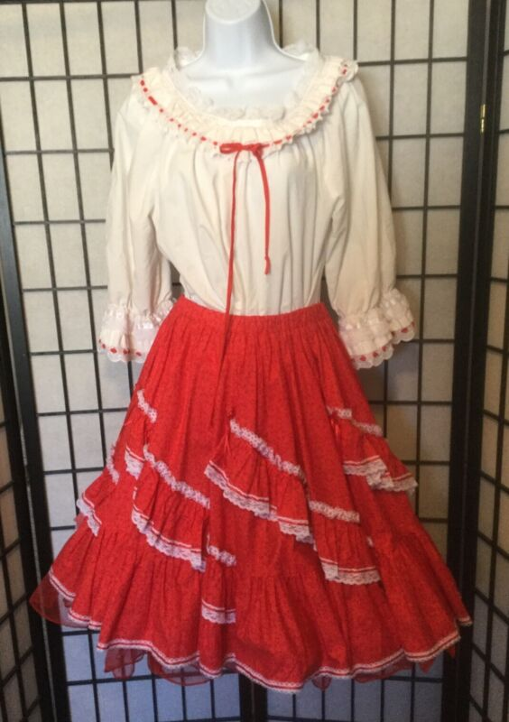 Red Square Dance Dress Outfit Skirt, Blouse, Petticoat, Print Ruffles Lace