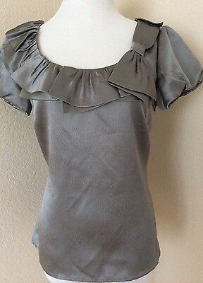 Silk blouse silver gray Ruffles Scoop Neck short sleeves Ann Taylor Top