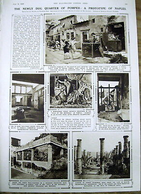 1929 illustrated newspaper w PHOTOS newest discoveries POMPEII Italy ARCHEOLOGY