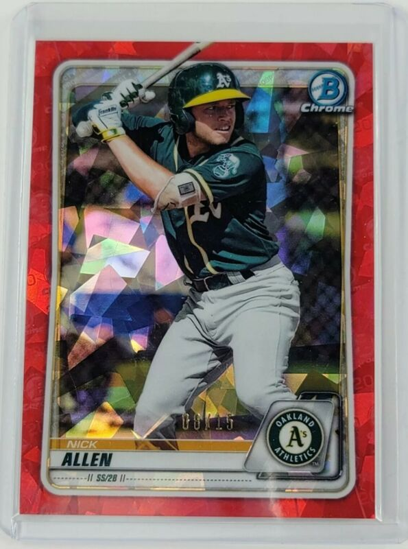 2020 Nick Allen Bowman Chrome 8/15 Red Cracked Ice Refractor