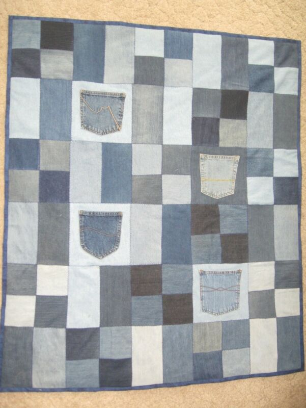 """Denim Recycled Jeans Patchwork Throw Quilt with Pockets 42"""" x 49 1/2"""""""