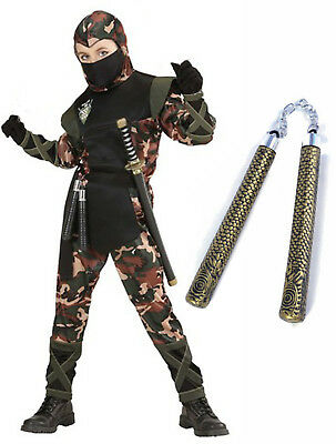 Boys Ninja Army Soldier Fancy Dress Costume Outfit Samurai Age 5-13 + Toy