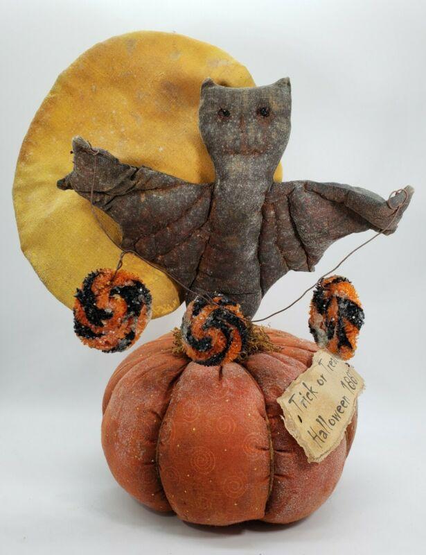 Primitive Grungy Pumpkin with Bat and Moon Halloween Folk Art Decoration