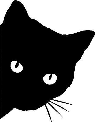 Black Cat Face with Whiskers Peeking Around the Corner Vinyl car cutout sticker - Black Cat Cutout