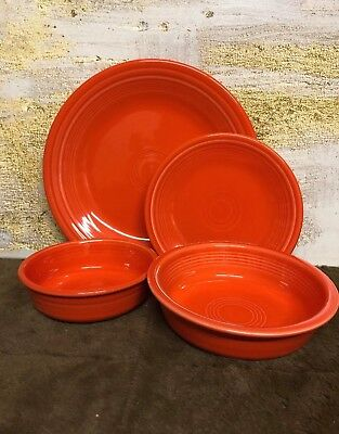 Fiesta 4- Pc Place Setting  Service For One Dinnerware Set Poppy Made  in USA ()