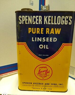 Vintage Spencer Kellogg's Pure Raw Linseed Oil 1 Gallon Tin Can