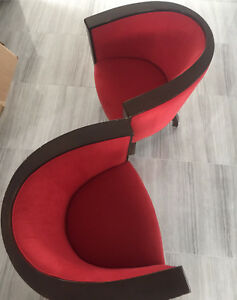 "2 Modern Red Velvet&Wood ""Tete-a-tete,Courting, Kissing"" Chairs"